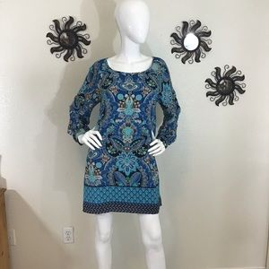 Opie & Lucy Blue Paisley Shift Dress Medium